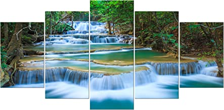 Wieco Art 5 Panels Peaceful Waterfall Giclee Canvas Prints Wall Art Paintings for Wall Decor Dining Room Kitchen Extra Lar...
