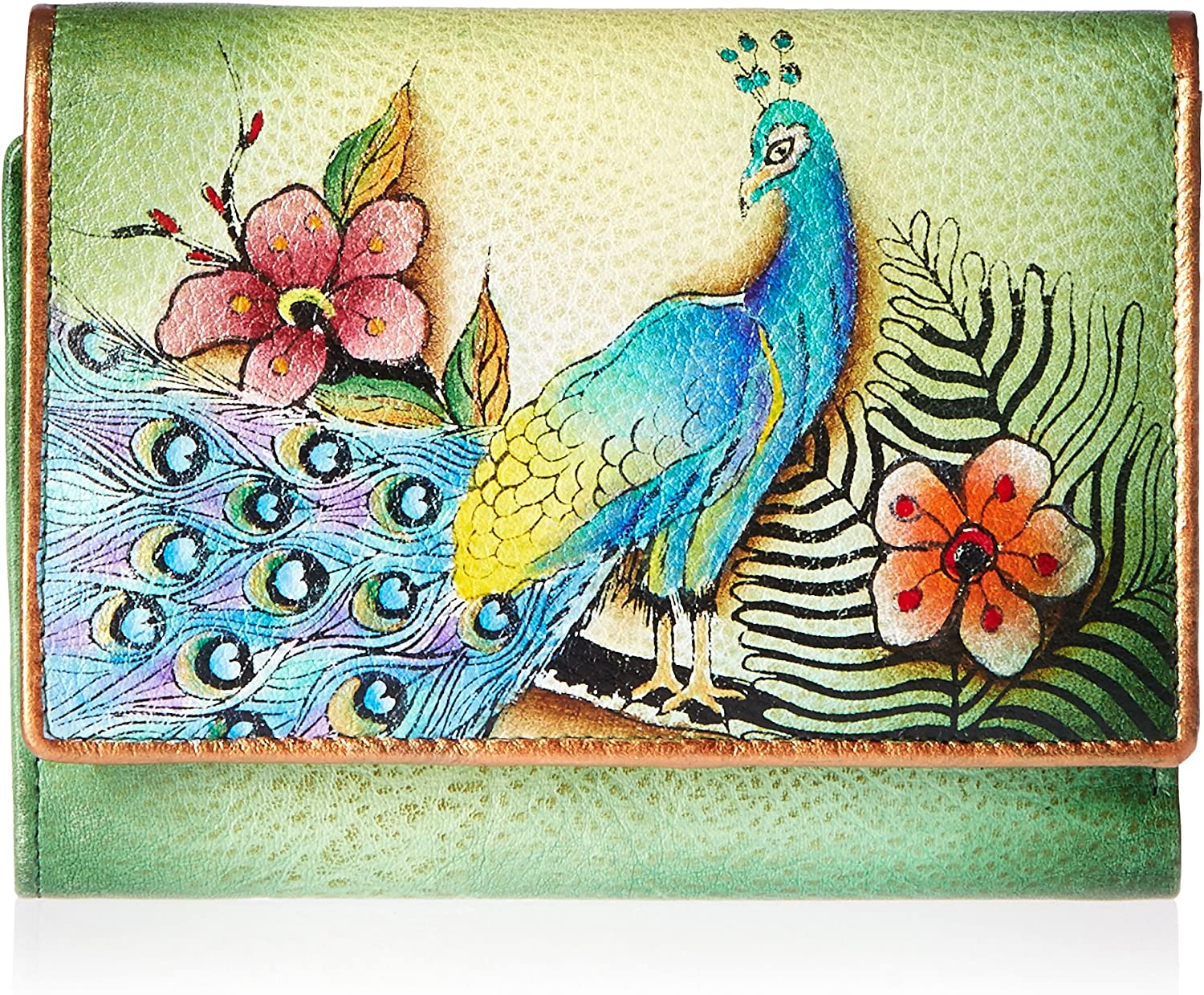 Anuschka Hand Painted Rfid Blocking Small Flap French Wallet Passionate Peacocks Wallet, PpkPassionate Peacocks, One Size