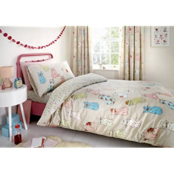 Duvet Cover 140 x 200 cm Herding Young Collection Bedding-Set Pillow Case 70 x 90 cm Cats Reversible Motif Flannel