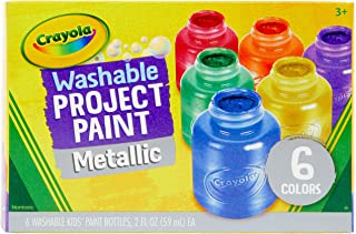 Crayola, Washable Metallic Paint, 6 x 59ml, Art Supplies, Children Art & Craft, Projects, Artist, Students, Creativity