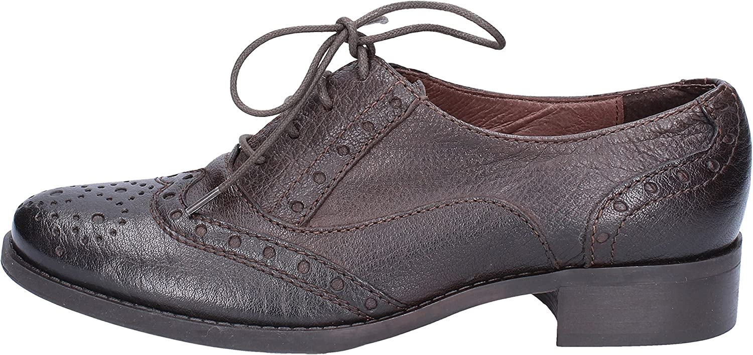 women PIU' Oxfords-shoes Womens Leather Brown