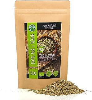 Semillas de hinojo orgánico entero (250g), especia calidad crudo, hinojo de cultivo orgánico certificado, granos de hinojo...