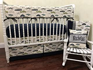 Baby Boy Crib Bedding, Vintage Cars and Trucks with Navy and Gray, Crib Rail Cover - Choose Your Pieces