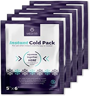 "Instant Cold Packs - Pack of 24 (5"" x 6"") Disposable Cold Compress Therapy Instant Ice Pack for Injuries, First Aid, Pain Relief for Tooth Aches, Swelling, Sprains, Bruises, Insect Bites"