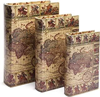 Book Safe – 3-Pack Fake Hollow Books, Hollowed Out Decorative Faux Books with Secret Hidden Compartment Box for Storage – Hide Jewelry, Money, Valuables, and More, Vintage Map Design