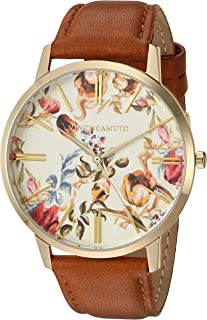 Vince Camuto Women's VC/5322FLHY Gold-Tone and Brown Leather Strap Watch