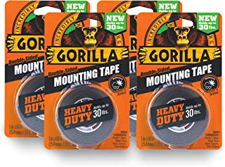 Gorilla Heavy Duty Double Sided Mounting Tape, 1 Inch x 60 Inches, Black(Pack of 4)