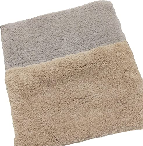 Magic Home Anti Slip Bath Mat Microfiber Soft Size 40 x 60 cm Fluffy Bathroom Rugs Suitable for Kitchen Bedroom and Bathroom Dry Fast Water Absorbent Machine Washable Set of 2 Grey and Beige