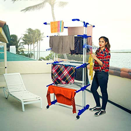 PARASNATH Powder-Coated Steel and Plastic 3 Poll 3 Layer Clothes Hanger Drying Rack Portable Garment Cloth Dryer Stand, Wheels Comes with Break System, Made in India (Multicolor)