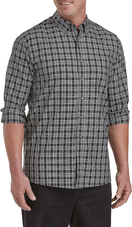 Harbor Bay by DXL Big and Tall Easy-Care Medium Plaid Sport Shirt, Black