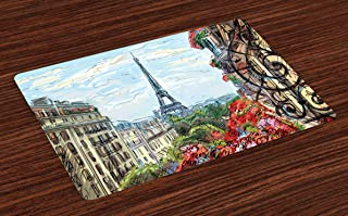 Lunarable Paris Place Mats Set of 4, Street in Paris Town Traffic Trees Downtown Urban Life Monument Scenery, Washable Fabric Placemats for Dining Table, Standard Size, Vermilion Green