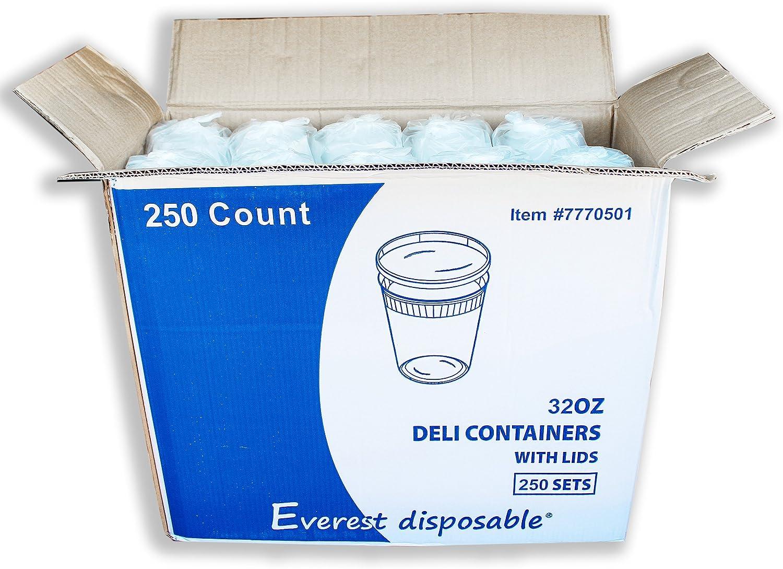 EDI Wholesale 250 Sets Microwavable Translucent Plastic Soup Food Deli Container With Lid (32OZ)