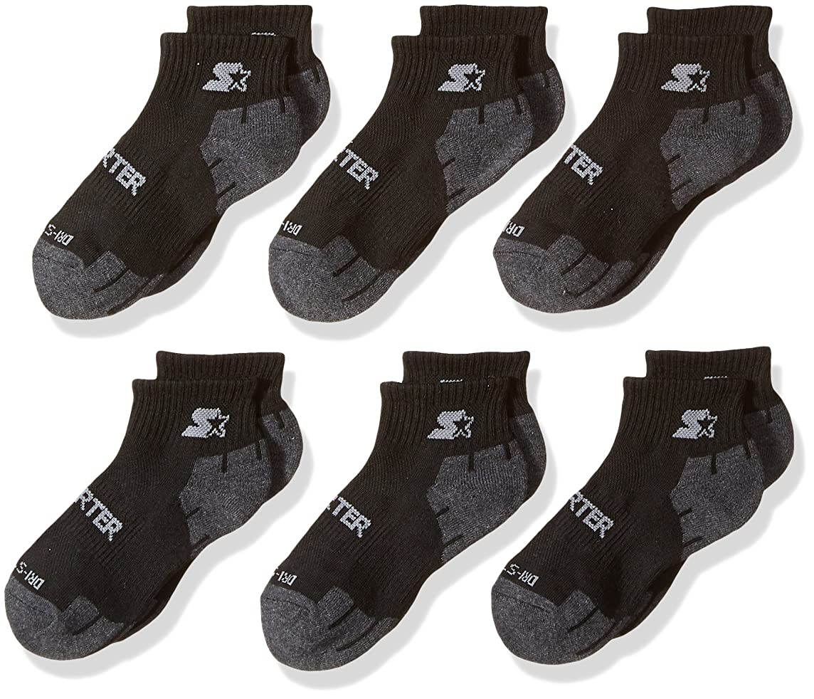 Starter Boys' 6-Pack Quarter-Length Athletic Socks, Amazon Exclusive