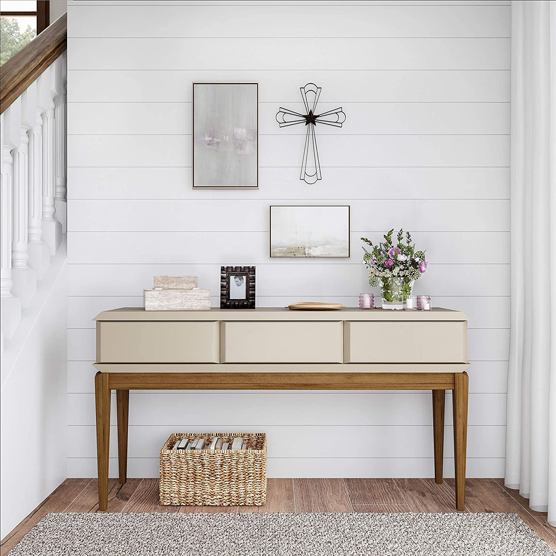Bedroom Lavish Home Handmade Short Flat White Mango Wood Vase Metal Cross Center Star Design-Rustic Handcrafted Religious Wall Art for Decor in Living Room