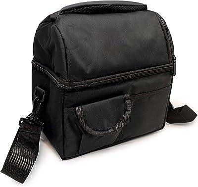 NERTHUS FIH 668 Food Carrier Bag with Double Floor, 24 x 15 x 24 cm, Black