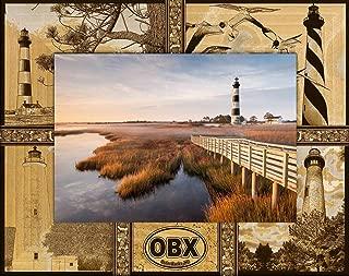 OBX Outer Banks North Carolina Montage Laser Engraved Wood Picture Frame (5 x 7)