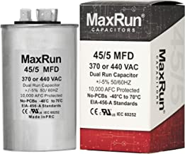 MAXRUN 45+5 MFD uf 370 or 440 Volt VAC Round Dual Run Capacitor for Air Conditioner or Heat Pump Condenser - 45/5 Microfar...