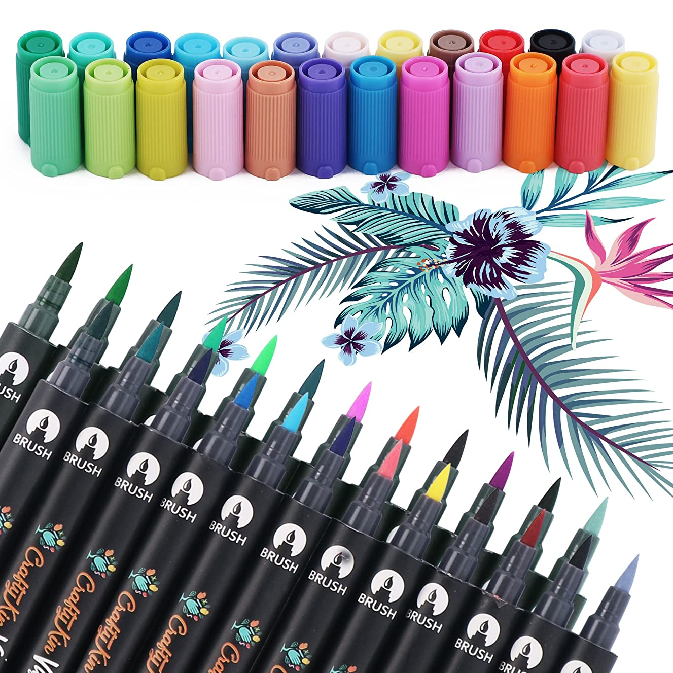 Dual Tip Watercolor Art Brush Markers (24 Colors) - Crafty Kin Non Toxic Water Based Premium Brush for Coloring, Calligraphy, Sketching, Bullet Journal