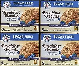 Voortman Bakery Oatmeal Blueberry Sugar Free Breakfast Biscuits 8 Cookies 7.1 oz (Pack of 4)