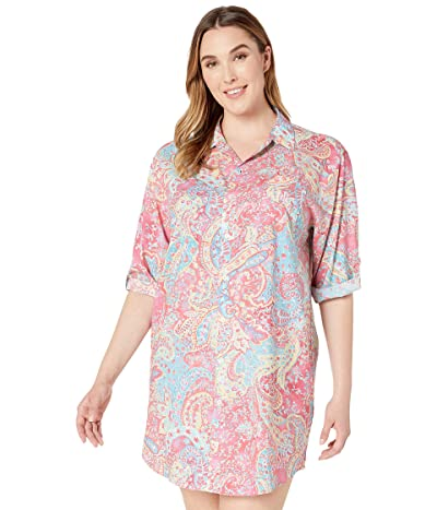 LAUREN Ralph Lauren Plus Size 3/4 Roll Tab Sleeve His Shirt Sleepshirt (Pink Paisley Print) Women