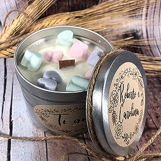Ti amo Candela in cera di soia e oli essenziali stoppino in legno Anniversario Fidanzamento San Valentino Proposta di matr...