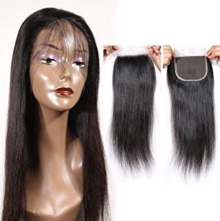 HZSHMM 10A Brazilian Straight Human Hair Lace Closure Free Part 4×4 18inch Natural Hair Color Top Lace Closure(18inch Closure)