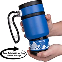 Double Shot 3.0 Travel French Press Coffee Mug - 16 oz Insulated Stainless Steel Mug with Non-Slip Grip - Brü-Stop System and Storage Base - Perfect for Long Commutes and Camping - Mountain Lake Blue