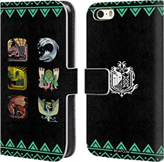 Official Monster Hunter World Ancient Forest Icons Leather Book Wallet Case Cover Compatible for iPhone 5 iPhone 5s iPhone SE