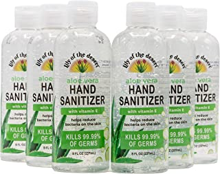Lily of the Desert Hand Sanitizer - 8oz Bottle (6 Pack) with Organic Aloe, Made in USA, 70% Alcohol, 15% Aloe Vera, Moistu...