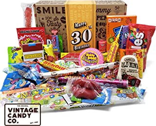 VINTAGE CANDY CO. 30TH BIRTHDAY RETRO CANDY GIFT BOX - 1989 Decade Childhood Nostalgic Candies - Fun Funny Gag Gift Basket - Milestone 30 THIRTIETH Birthday - PERFECT For Man Or Woman Turning THIRTY