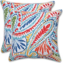 Pillow Perfect Outdoor | Indoor Ummi Multi 16.5 Inch Throw Pillow, 16.5 X 16.5 X 5, Red