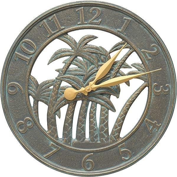 Whitehall Products Palm Clock Bronze Verdi