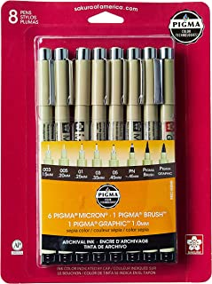 Sakura Pigma 50048 Micron Blister Card Ink Pen Set, Sepia, All Sepia 8CT
