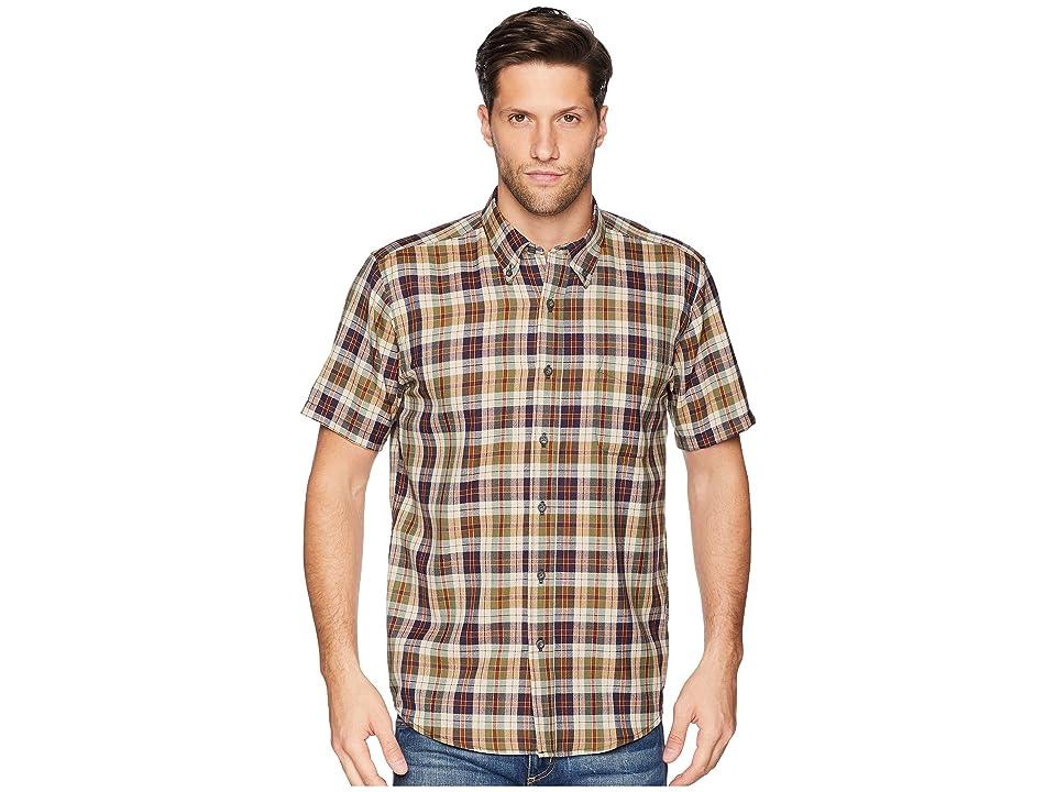 Pendleton Linen Short Sleeve Button Down Collar Shirt (Green/Rust Plaid) Men