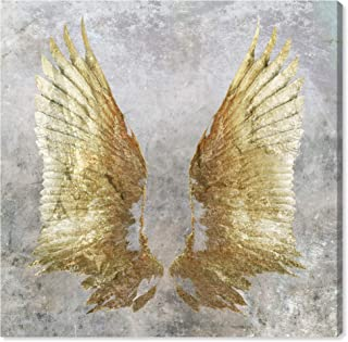 The Oliver Gal Artist Co. Fashion and Glam Wall Art Canvas Prints 'My Golden Wings' Home Décor, 43 x 43, Gray, Gold