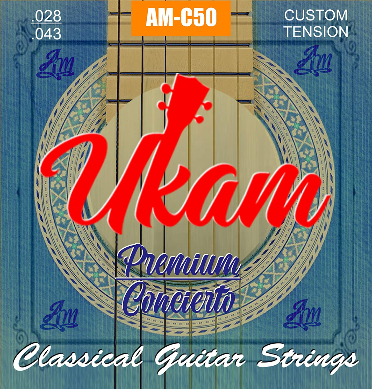 Cuerdas guitarra clasica,española,flamenco UKAM mod.AM-C50 serie Premiun Concierto y tres púas celuloide tipo concha diferentes grosores (0.46, 0.71, 0.96).Empaquetado al vacío.