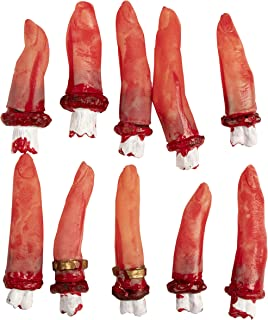 Fake Body Parts - 10-Piece Bloody Human Fingers, Artificial Broken Cut Off Fingers Halloween Party Props, Haunted House Decoration, April Fool Prank Toys