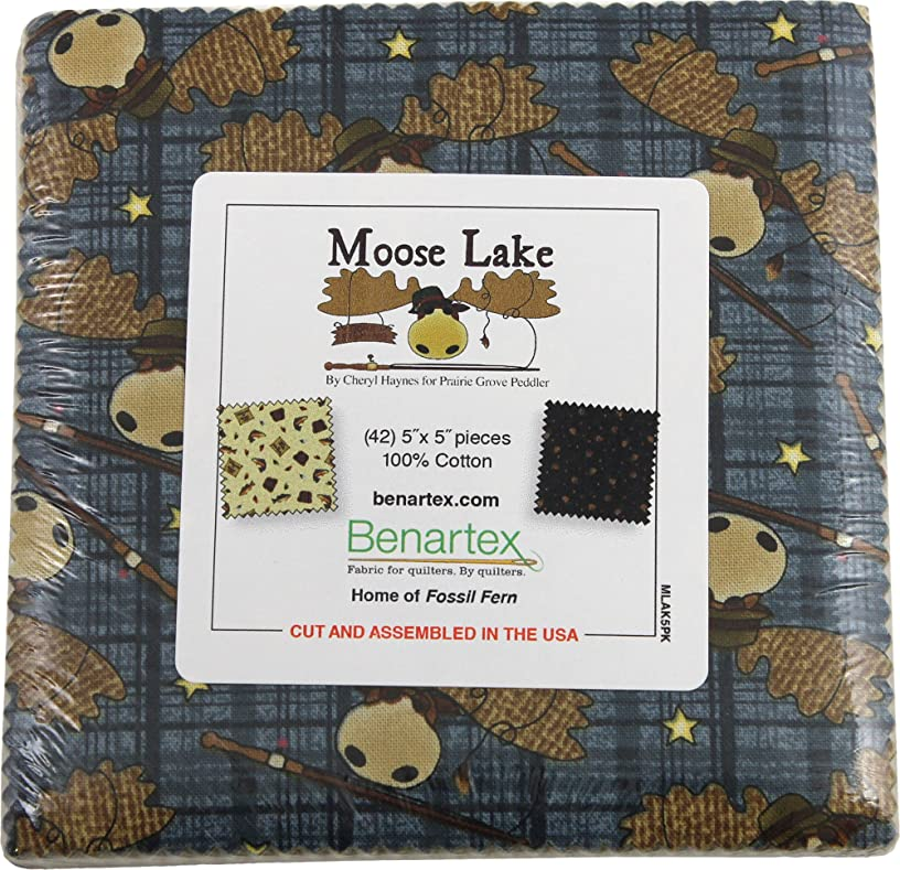 Cheryl Haynes Moose Lake Precut 5-inch Charm Pack Cotton Fabric Quilting Squares Assortment Benartex