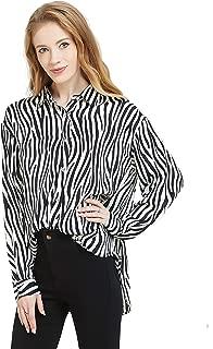 Womens Oversized Long Sleeve Button Down Leopard Snake Zebra Animal Print Shirt Blouse