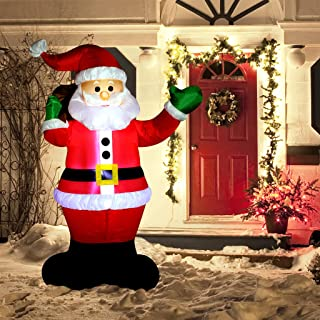 Christmas Inflatable Decoration 6 Foot Santa Claus LED Light Up Giant Christmas Xmas Inflatable Santa Claus Carry Gift Bag for Blow Up Yard Decoration, Indoor Outdoor Garden Christmas Decoration.