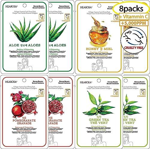 MEAROSA Facial Sheet Mask Korean SkinCare premium Quality Vitamin C Collagen Essence Sensitive skin(8 Sheet Variety p...