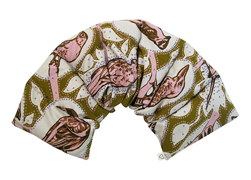 Microwavable Neck & Shoulder Wrap Pad - Aroma LOVEwrap - 6 X 23 - Flax w/fine Mist of Calming Lavender Oil - subtly Scented - Flax Seed Natural Hot Cold Therapy Muscles Pain Relief - Bird Pink Yellow