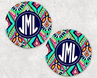Monogrammed Car Coasters - Absorbent Sandstone - Moroccan Style (SET of 2)