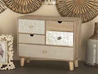 Deco 79 85261 5-Drawer Wood and Aluminum Jewelry Chest, 13