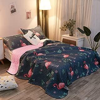 LAMEJOR Quilt Set Queen Size Flamingo Pattern 3-Piece Reversible Luxury Comforter Set Bedspread Coverlet Set Lightweight Microfiber Blue/Pink
