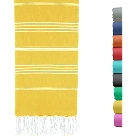 Turkish Beach Towel 37 by 70 Inches Made of 100% Cotton, Ultra Soft and Absorbent, Quick Drying Peshtemal Hammam Towel for Beach, Bath, Yoga, Sauna, Travel and Throw Blanket Yellow