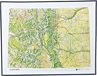 American Educational Colorado Natural Color Relief Map with Black Plastic Frame, 17-1/2