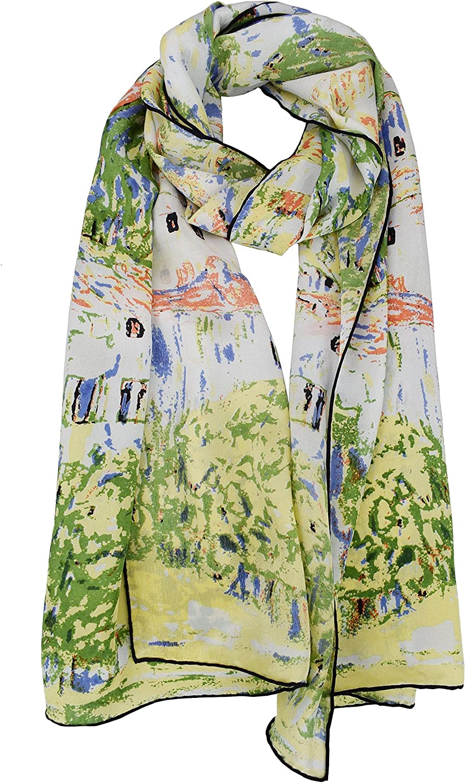 ELEGNA Luxurious 100% Silk Scarf Shawl with Hand Rolled Edge Gustav Klimt Church At Cassone