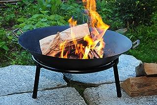 BTV 2X MASSIV Feuerschale für Grill, Camping, Garten Lagerfeuer, GUSSEISEN LEICHT UND FORMSTABIL, mit Standring und 2 Grffen o. Zubehör