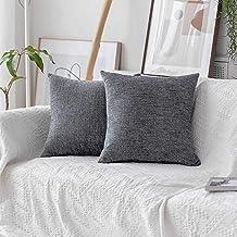 Home Brilliant Set of 2 Supersoft Striped Velvet Chenille Decorative Euro Sham Pillowcase Throw Pillow Cushion Cover for C...